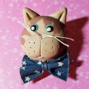 So cute! Cat brooch handmade kitty pin tan blue